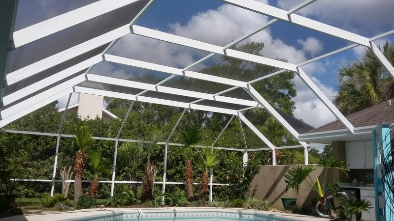 Inside overview - Pool enclosure with white frames